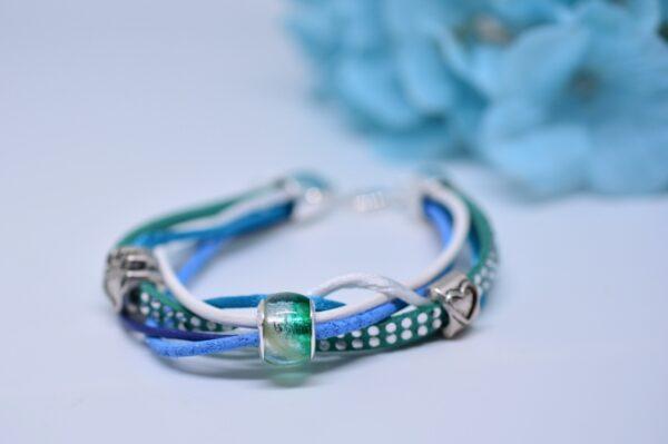 Personalisierter Schmuck für Männer und Frauen Leder Mix Armband blau türkis