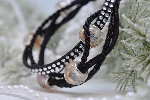 Personalisierter Schmuck für Männer und Frauen Leder Mix Armband schwarz