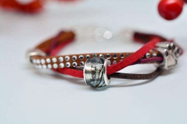 Personalisierter Schmuck für Männer und Frauen Leder Mix Armband rot mit Haarperle