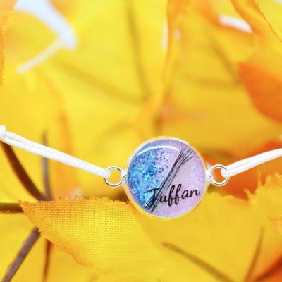 """Infinity Armband personalisiert """"YOUNIVERSE"""" mit Anhänger von Leafinity dünnes Textilarmband weiß"""