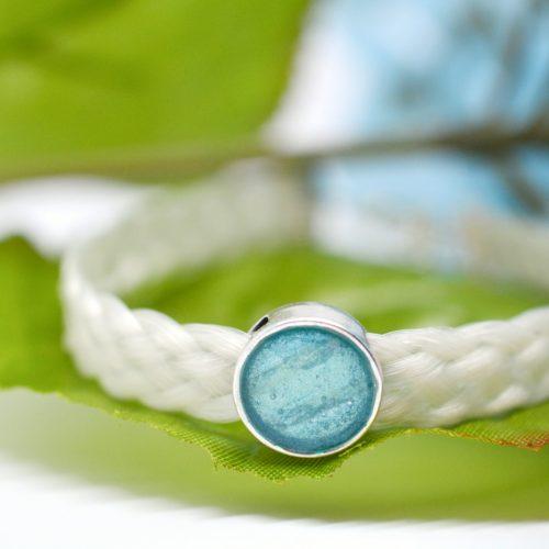 Pferdehaarschmuck mit Haarperle blau türkis Perlen Pferdearmband Pferdehaararmband geflochten