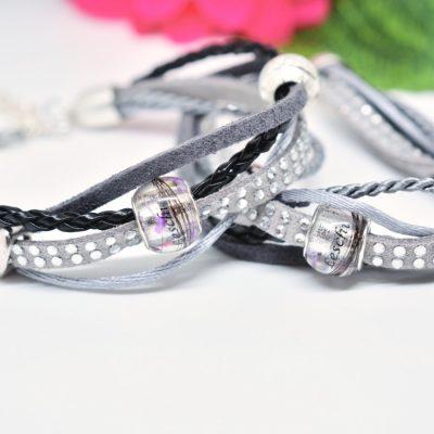 Personalisierter Schmuck für Männer und Frauen Leder Mix Armband schwarz grau
