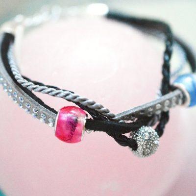 Personalisierter Schmuck für Männer und Frauen Leder Mix Armband schwarz grau pink blaue Haarperlen
