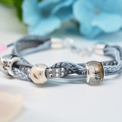 Personalisierter Schmuck für Männer und Frauen Leder Mix Armband grau silber blau