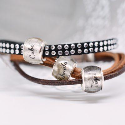 Personalisierter Schmuck für Männer und Frauen Leder Mix Armband schwarz braun