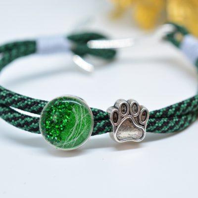 Schmuck für Männer und Frauen Paracord Armband grün mit Pfote